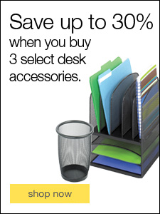 Save up to 30% when you buy 3 select desk accessories.