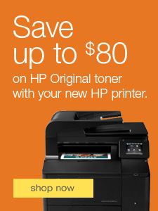 Save up to $80 on HP Original toner with your new HP printer.