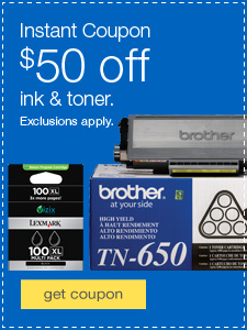 Instant Coupon $50 off ink & toner. Exclusions apply.
