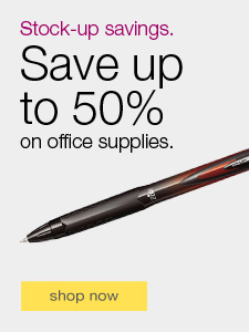 Stock up savings. Save up to 50% on office supplies.