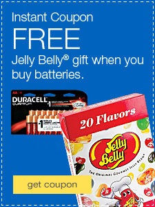 Instant Coupon. FREE Jelly Belly® gift when you buy batteries.