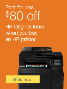 Print for less. $80 off HP Original toner when you buy an HP printer.