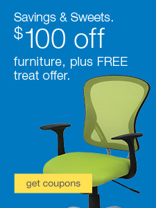 Savings + Sweets. $100 off furniture, plus free treat offer.
