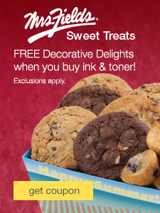 Mrs. Fields® Sweet Treats. FREE Decorative Delights throughout 2015 when you buy ink & toner. Exclusions apply.