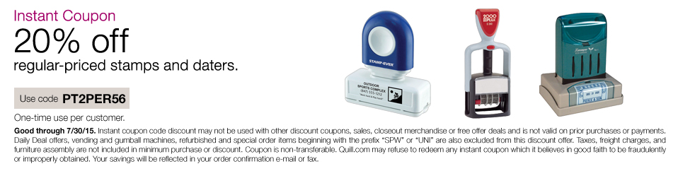 Instant Coupon 20% off regular-priced stamps or daters.