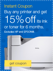 Instant Coupon Buy any printer and get 15% off its ink or toner for 6 months.
