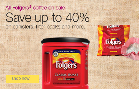 All Folgers® coffee on sale. Save up to 40% on canisters, filter packs and more.