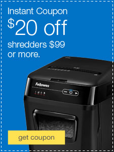 Instant Coupon. 20% off shredders $99 or more.