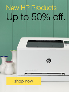 New HP products. Up to 50% off.