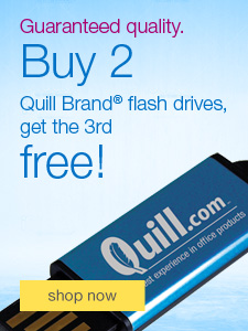 Guaranteed quality. Buy 2 Quill Brand® flash drives, get the 3rd free!