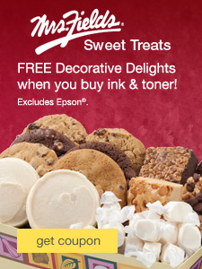Mrs. Fields® Sweet Treats. FREE Decorative Delights when you buy ink & toner! Excludes Epson®.