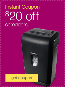 Instant Coupon-$20 off shredders.
