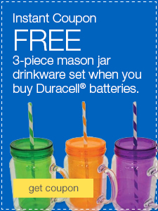 FREE 3-piece mason jar drinkware set when you buy Duracell® batteries.