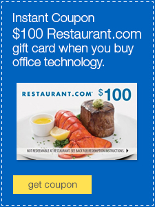 $100 Restaurant.com gift card when you buy office technology.