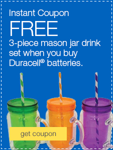 FREE 3-piece mason jar drink set when you buy Duracell® batteries.