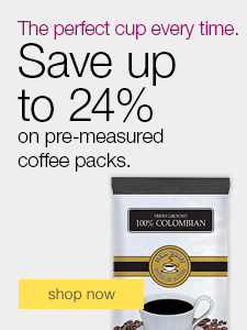 Save up to 24% on pre-measured coffee packs.