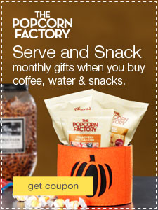 Serve and Snack monthly gifts when you buy coffee, water & snacks.