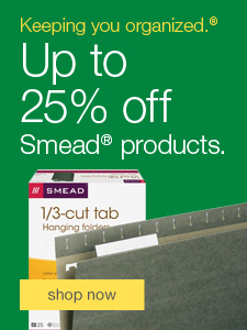 Keeping you organize.® 25% off Smead® products.