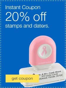 20% off stamps or daters.