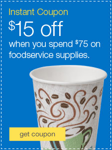 $15 off when you spend $75 on foodservice supplies.