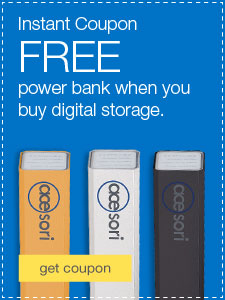 Instant Coupon. FREE power bank when you buy digital storage.