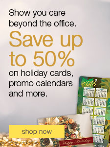 Save up to 50% on holiday cards, promo calendars and more.