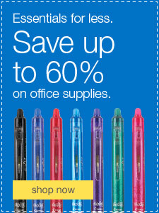Essentials for less. Save up to 60% on office supplies.