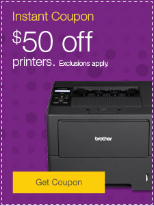 Instant coupon. $50 off printers. Exclusions apply.