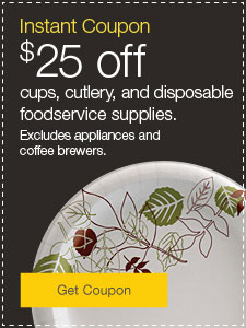 Instant Coupon $25 off snacks, beverages and foodservice supplies.  Excludes appliances.