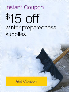 Instant Coupon. $15 off winter preparedness supplies.