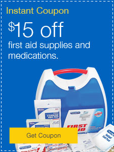 $15 off first aid supplies and medications.