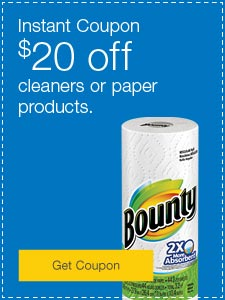 $20 off cleaners or paper products.