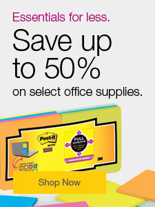 Essentials for less. Save up to 50% on select office supplies.