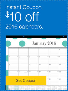 Instant coupon. $10 off 2016 calendars.