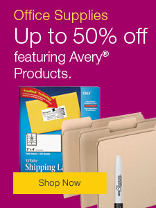 Save up to 50%, everyday office essentials featuring Avery® products.