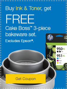 Buy Ink & Toner, get FREE Cake Boss™ 3-piece bakeware set. Excludes Epson®.