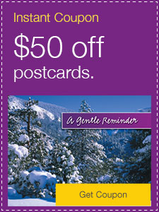 $50 off postcards.