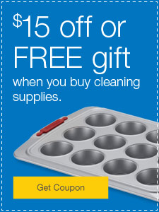 $15 off or FREE gift when you buy cleaning supplies.