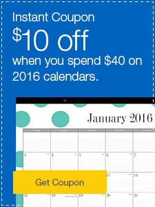 Instant Coupon. $10 off when you spend $40 on 2016 calendars.