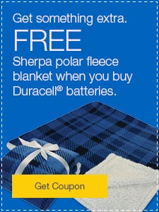 Get something extra. FREE Sherpa polar fleece blanket when you buy Duracell® batteries.