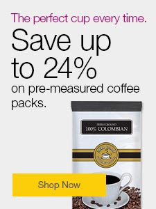 The perfect cup every time. Save up to 24% on pre-measured packs.