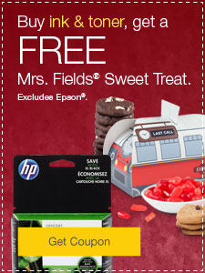 Buy ink & toner, get FREE Mrs. Fields® Sweet Treat. Excludes Epson®.