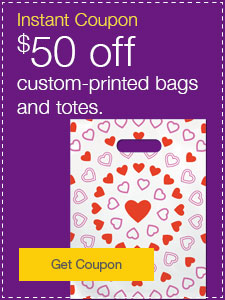 $50 off custom-printed bags and totes.