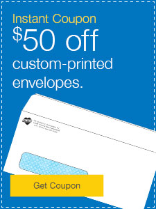 $50 off custom-printed envelopes.