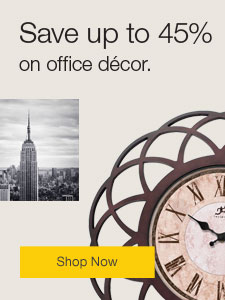 Save up to 45% on office décor.