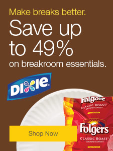 Make breaks better. Save up to 49% on breakroom essentials.