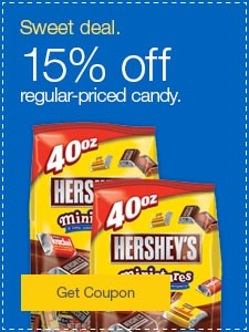 Sweet deal. 15% off regular-priced candy.