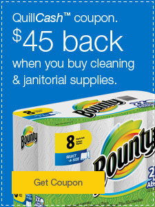 QuillCash coupon. $45 back when you buy cleaning & janitorial supplies.