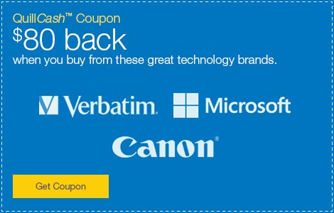 QuillCash™ Coupon. $80 back when you buy from these great technology brands.