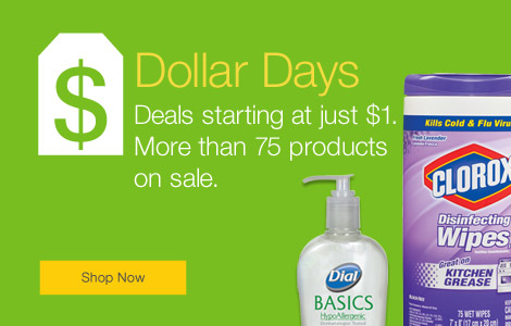 Dollar days. More than 75 products on sale. Deals starting at just $1.